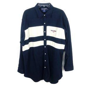 Polo Sport | Fleece Button Up Navy White Shirt XL